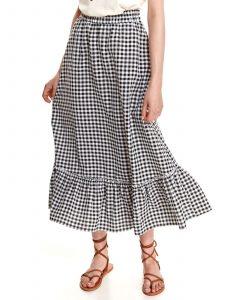חצאית ארוכה טופ סיקרט לנשים TOP SECRET RUFFLE - שחור/לבן