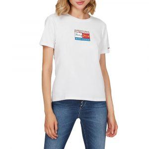 חולצת T טומי הילפיגר לנשים Tommy Hilfiger Floral Flag - לבן