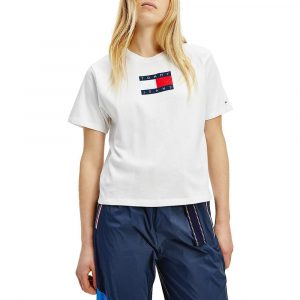 חולצת T טומי הילפיגר לנשים Tommy Hilfiger Metallic Logo - לבן