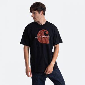 חולצת T קארהארט לגברים Carhartt WIP Wave C - שחור