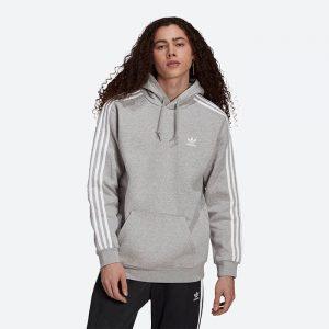 סווטשירט אדידס לגברים Adidas Originals 3-Stripes Hoody - אפור