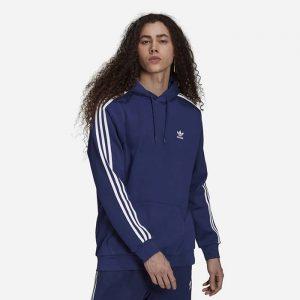 סווטשירט אדידס לגברים Adidas Originals 3-Stripes Hoody - כחול