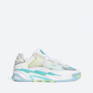 נעלי סניקרס אדידס לגברים Adidas Originals Niteball - לבן הדפס