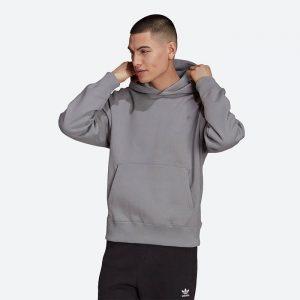 סווטשירט אדידס לגברים Adidas Originals Originals Adicolor Trefoil Hoody - אפור