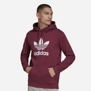 סווטשירט אדידס לגברים Adidas Originals Trefoil Hoody - בורדו