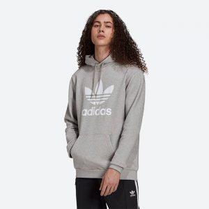 סווטשירט אדידס לגברים Adidas Originals Trefoil Hoody - אפור בהיר