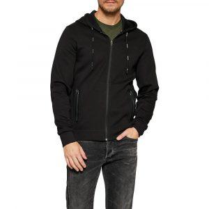 סווטשירט קלווין קליין לגברים Calvin Klein Cotton Stretch Zip Up - שחור