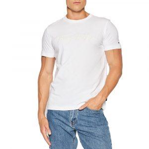 חולצת T טומי הילפיגר לגברים Tommy Hilfiger Signature Logo - לבן