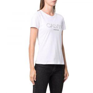 חולצת T קלווין קליין לנשים Calvin Klein Floral Logo Print - לבן