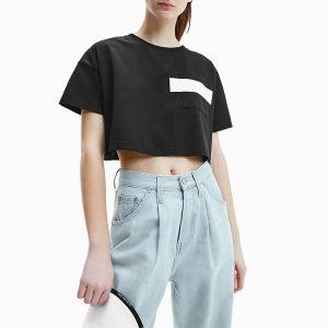 חולצת T קלווין קליין לנשים Calvin Klein Hero Logo Crop - שחור