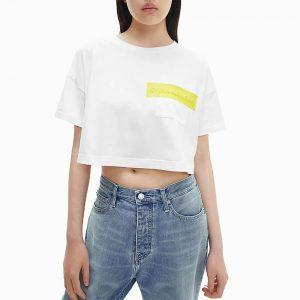חולצת T קלווין קליין לנשים Calvin Klein Hero Logo Crop - לבן