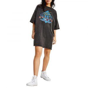 שמלה קצרה טומי הילפיגר לנשים Tommy Hilfiger Vintage Graphic Logo - שחור