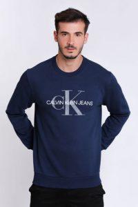 סווטשירט קלווין קליין לגברים Calvin Klein big logo - כחול
