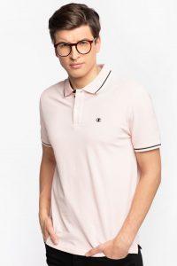 חולצת פולו צ'מפיון לגברים Champion C LOGO PRINT STRIPE DETAIL - ורוד