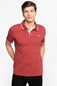 חולצת פולו צ'מפיון לגברים Champion C LOGO PRINT STRIPE DETAIL - כתום/אדום