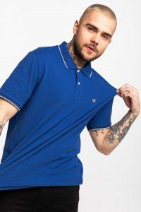 חולצת פולו צ'מפיון לגברים Champion C LOGO PRINT STRIPE DETAIL - כחול