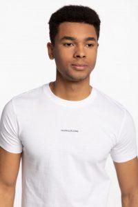 חולצת T קלווין קליין לגברים Calvin Klein MICRO BRANDING ESSENTIAL - לבן