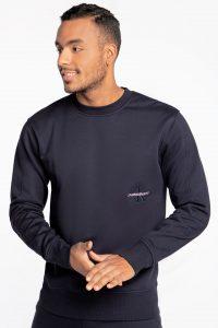 סווטשירט קלווין קליין לגברים Calvin Klein OFF PLACED ICONIC CREW NECK - כחול