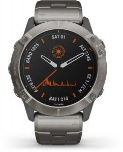 שעון גרמין לגברים Garmin fenix 6X Pro Solar Edition Titanium - שחור/כסף