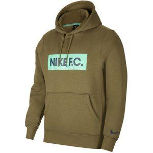 סווטשירט נייק לגברים Nike F.C. Pullover Fleece Soccer Hoodie - חאקי