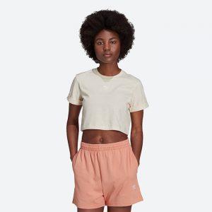 טופ וחולצת קרופ אדידס לנשים Adidas Originals ADICOLOR ESSENTIALS CROP - בז'