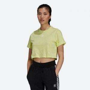טופ וחולצת קרופ אדידס לנשים Adidas Originals ADICOLOR ESSENTIALS CROP - צהוב