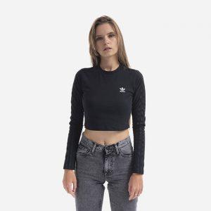 טופ וחולצת קרופ אדידס לנשים Adidas Originals Crop LS - שחור