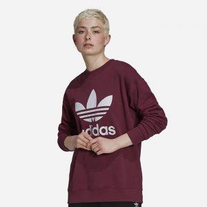 סווטשירט אדידס לנשים Adidas Originals Trefoil Crew - בורדו